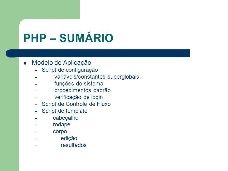 PHP – SUMÁRIO Modelo de Aplicação – Script de configuração – variáveis/constantes superglobais – funções do sistema – procedimentos padrão – verificaç