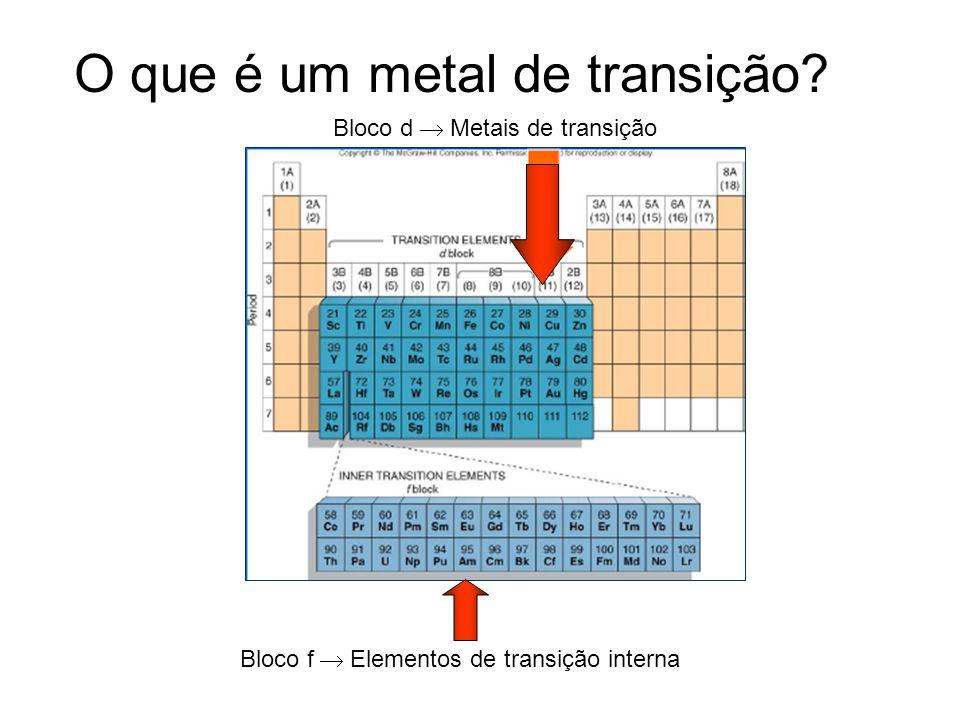 O que é um metal de transição? Bloco d Metais de transição Bloco f Elementos de transição interna