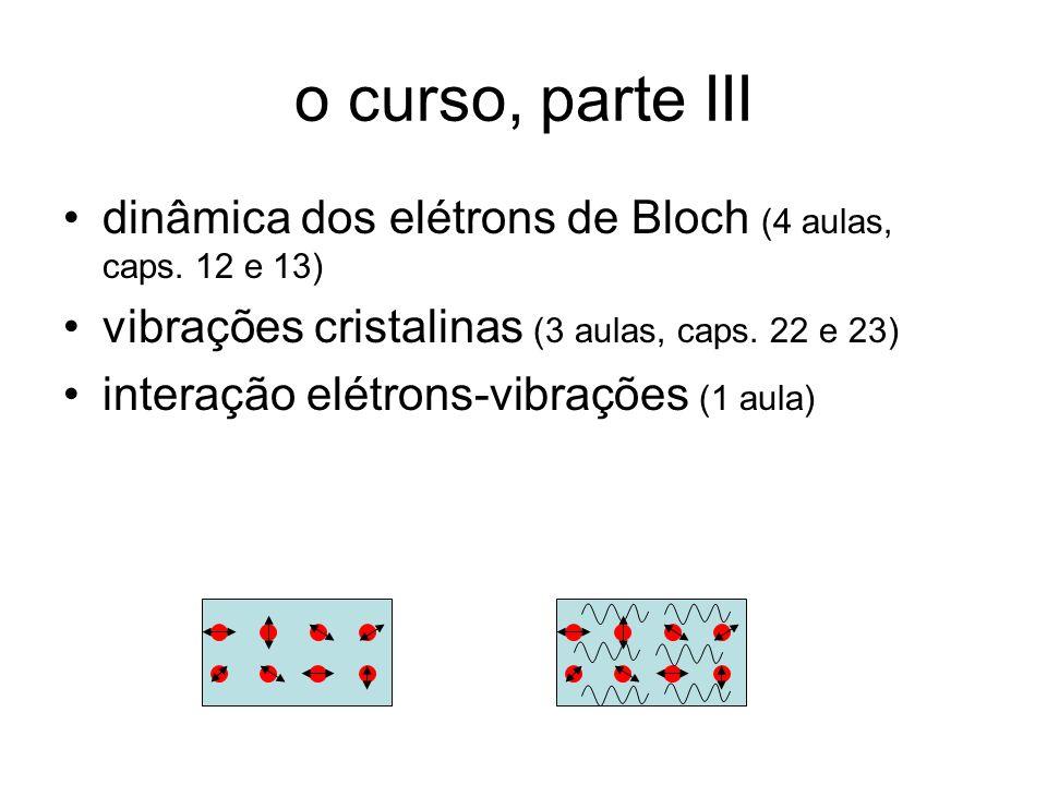 o curso, parte III dinâmica dos elétrons de Bloch (4 aulas, caps. 12 e 13) vibrações cristalinas (3 aulas, caps. 22 e 23) interação elétrons-vibrações
