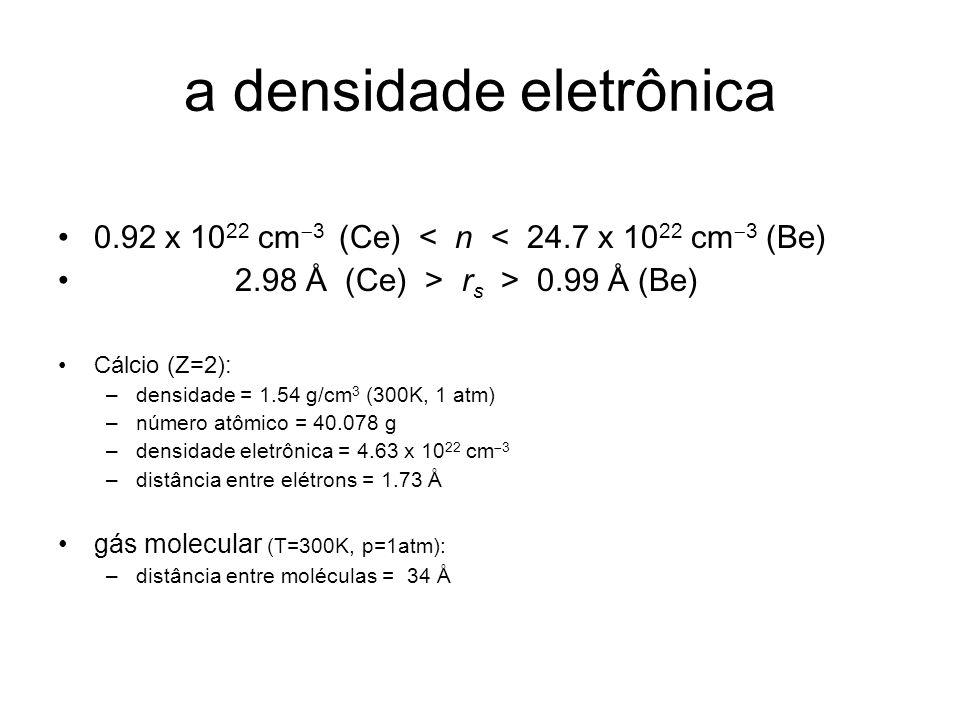 a densidade eletrônica 0.92 x 10 22 cm 3 (Ce) < n < 24.7 x 10 22 cm 3 (Be) 2.98 Å (Ce) > r s > 0.99 Å (Be) Cálcio (Z=2): –densidade = 1.54 g/cm 3 (300