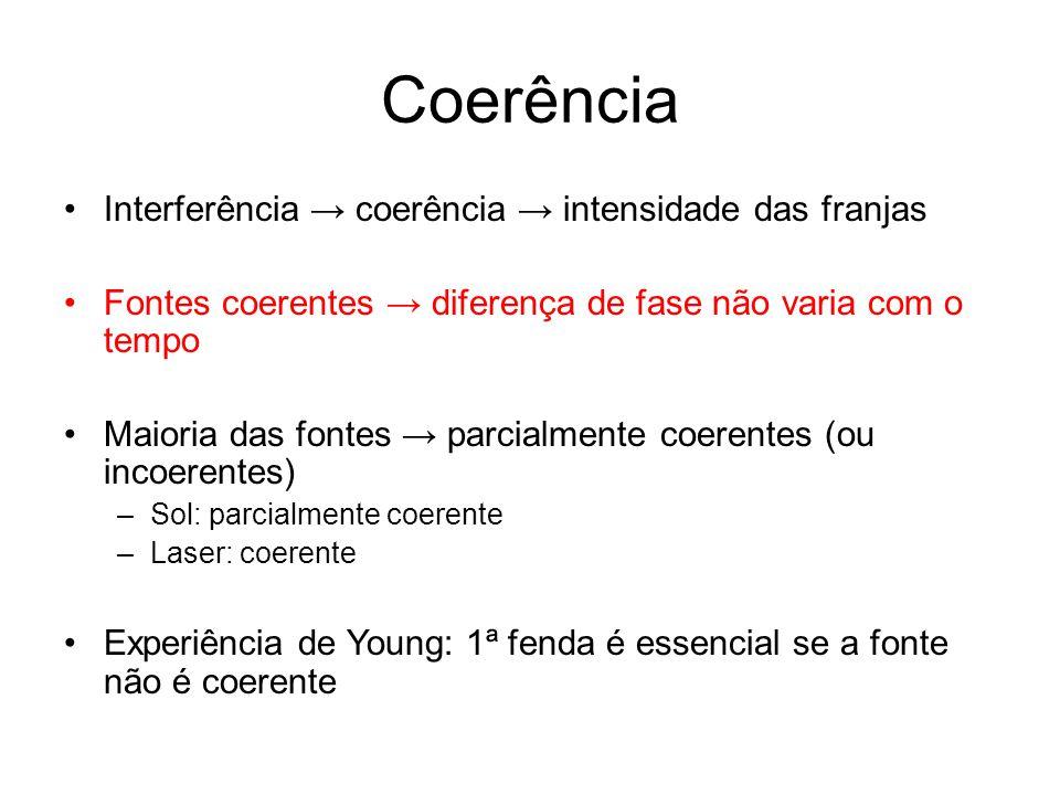 Coerência Interferência coerência intensidade das franjas Fontes coerentes diferença de fase não varia com o tempo Maioria das fontes parcialmente coe