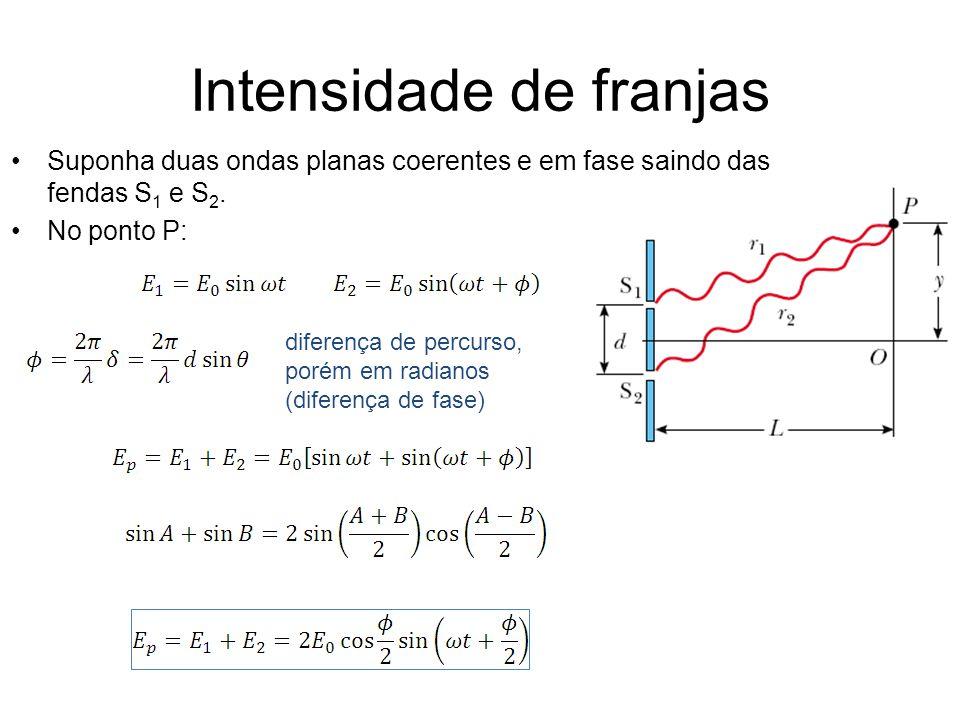 Intensidade de franjas Suponha duas ondas planas coerentes e em fase saindo das fendas S 1 e S 2. No ponto P: diferença de percurso, porém em radianos