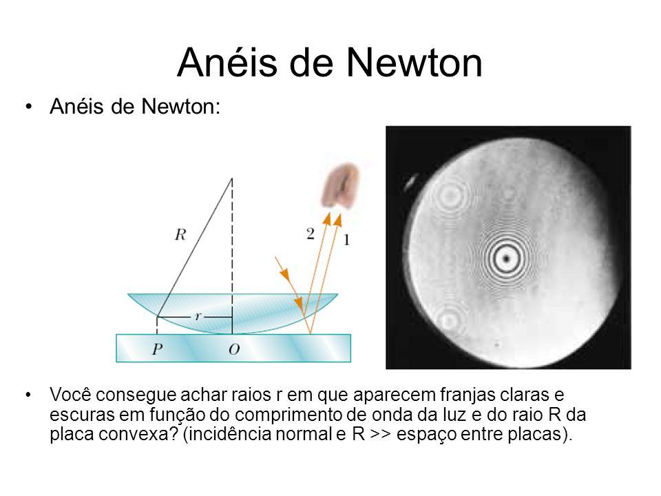 Anéis de Newton Anéis de Newton: Você consegue achar raios r em que aparecem franjas claras e escuras em função do comprimento de onda da luz e do rai