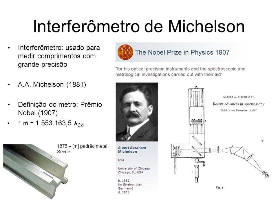 Interferômetro de Michelson Interferômetro: usado para medir comprimentos com grande precisão A.A. Michelson (1881) Definição do metro: Prêmio Nobel (