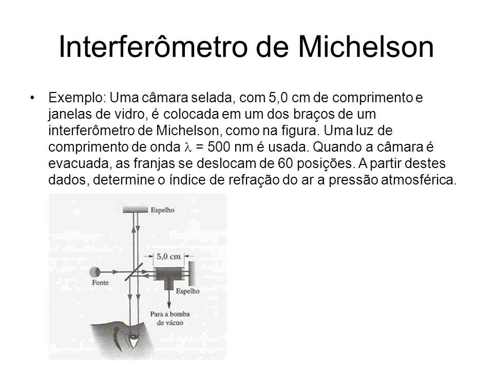 Interferômetro de Michelson Exemplo: Uma câmara selada, com 5,0 cm de comprimento e janelas de vidro, é colocada em um dos braços de um interferômetro