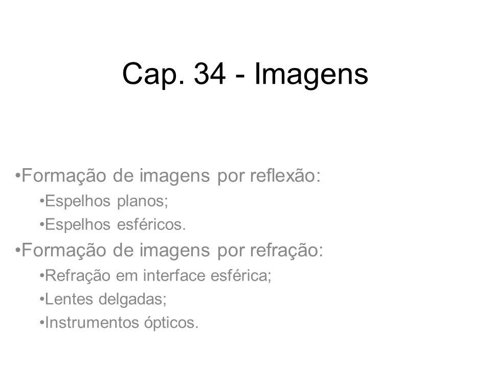 Cap. 34 - Imagens Formação de imagens por reflexão: Espelhos planos; Espelhos esféricos. Formação de imagens por refração: Refração em interface esfér