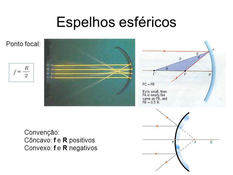 Espelhos esféricos Ponto focal: Convenção: Côncavo: f e R positivos Convexo: f e R negativos