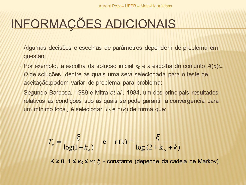 INFORMAÇÕES ADICIONAIS Algumas decisões e escolhas de parâmetros dependem do problema em questão; Por exemplo, a escolha da solução inicial x 0 e a es