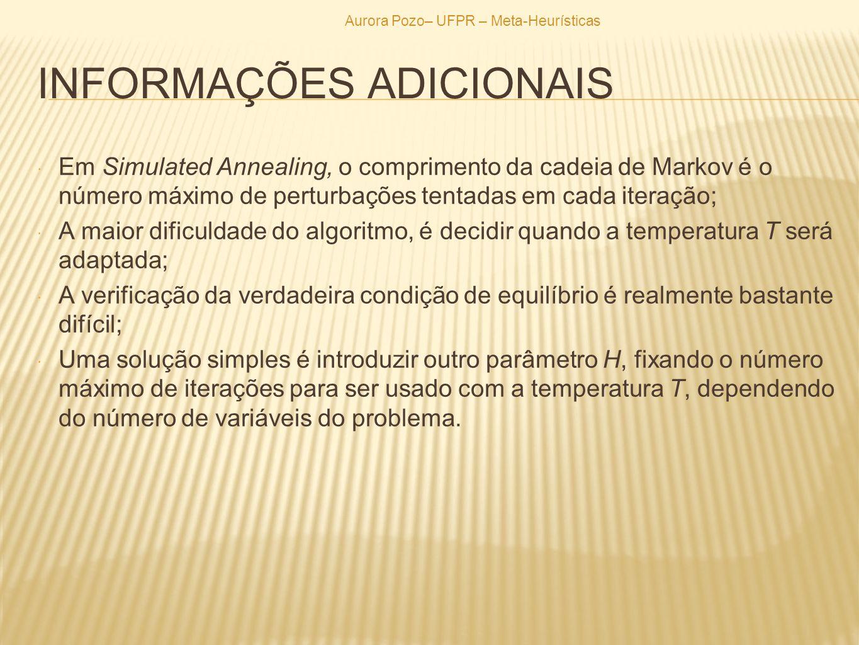 INFORMAÇÕES ADICIONAIS Em Simulated Annealing, o comprimento da cadeia de Markov é o número máximo de perturbações tentadas em cada iteração; A maior