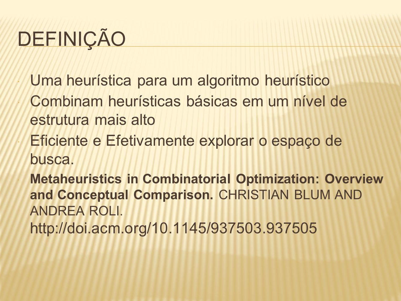 DEFINIÇÃO Uma heurística para um algoritmo heurístico Combinam heurísticas básicas em um nível de estrutura mais alto Eficiente e Efetivamente explora
