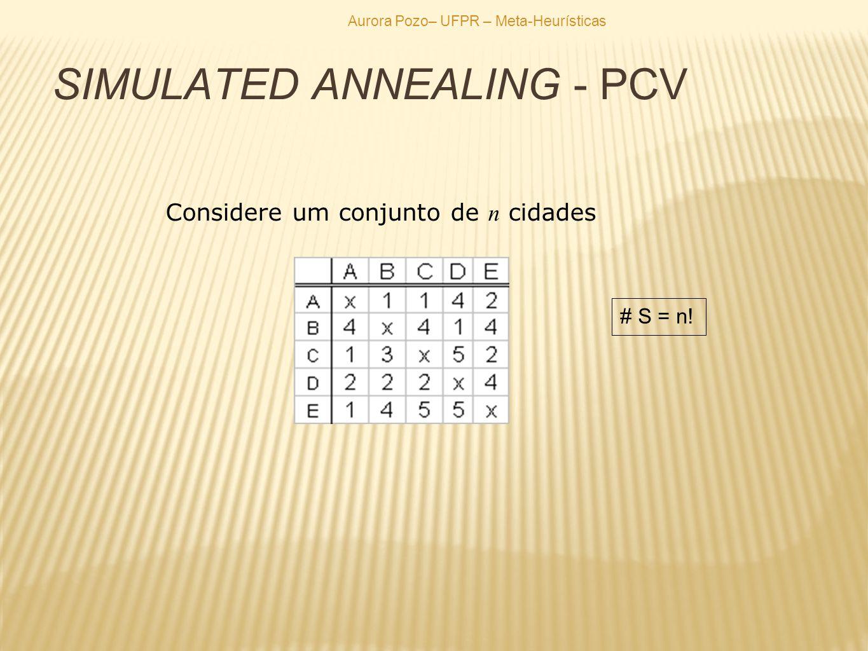 SIMULATED ANNEALING - PCV Considere um conjunto de n cidades # S = n!