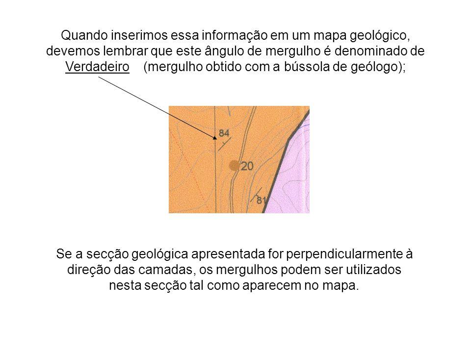 Quando inserimos essa informação em um mapa geológico, devemos lembrar que este ângulo de mergulho é denominado de Verdadeiro (mergulho obtido com a b