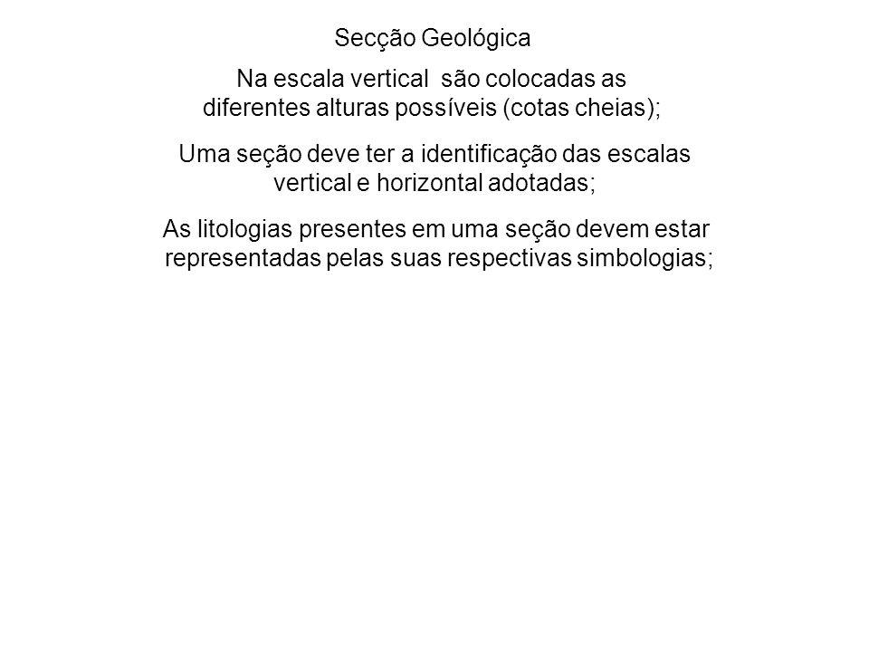 Secção Geológica Na escala vertical são colocadas as diferentes alturas possíveis (cotas cheias); Uma seção deve ter a identificação das escalas verti