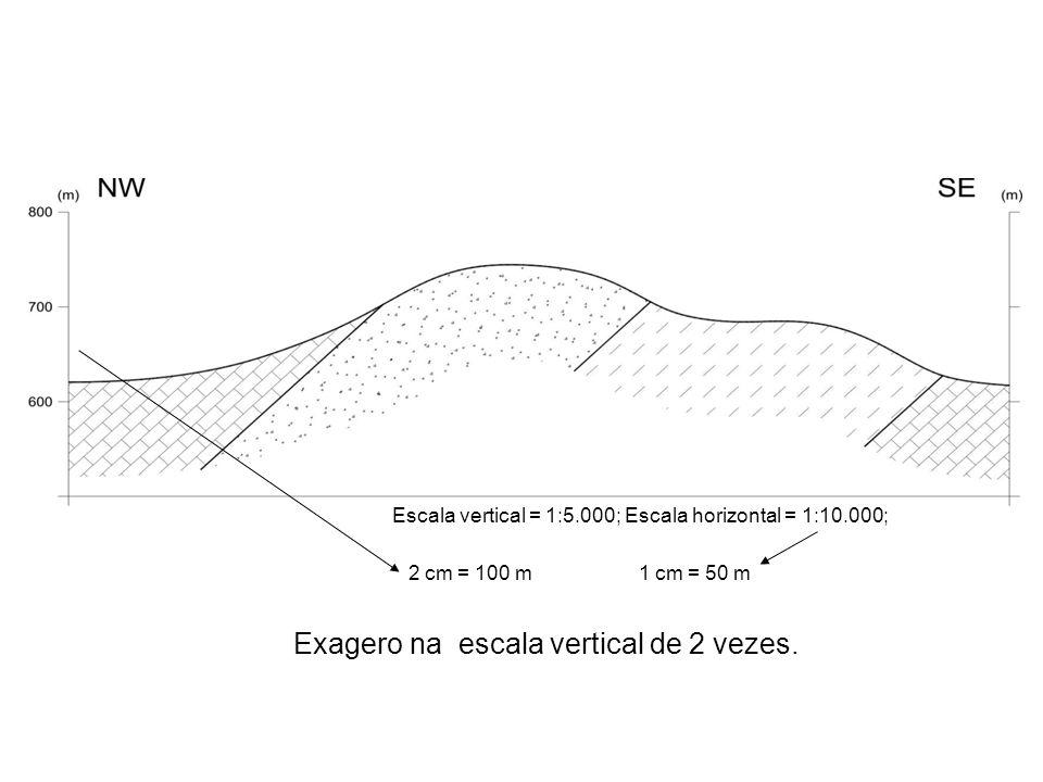 Escala vertical = 1:5.000; Escala horizontal = 1:10.000; Exagero na escala vertical de 2 vezes. 2 cm = 100 m1 cm = 50 m
