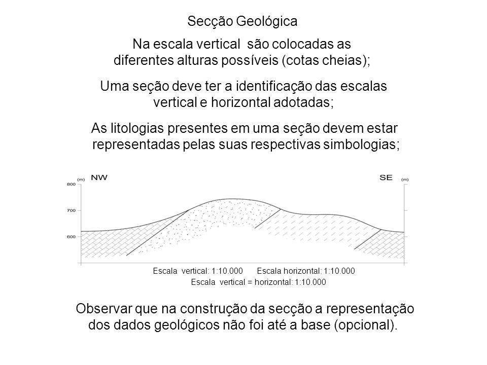 Uma seção deve ter a identificação das escalas vertical e horizontal adotadas; Na escala vertical são colocadas as diferentes alturas possíveis (cotas cheias); As litologias presentes em uma seção devem estar representadas pelas suas respectivas simbologias; Secção Geológica Escala vertical: 1:10.000 Escala horizontal: 1:10.000 Escala vertical = horizontal: 1:10.000 Observar que na construção da secção a representação dos dados geológicos não foi até a base (opcional).