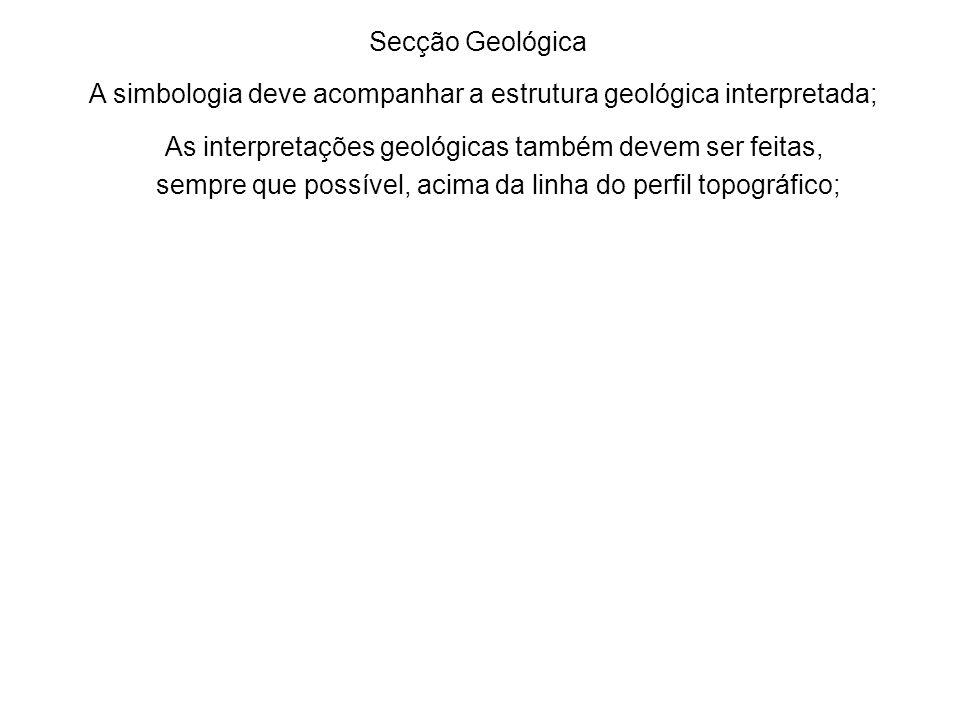 Escala vertical:1:10.000 Escala horizontal: 1:10.000 Secção Geológica A simbologia deve acompanhar a estrutura geológica interpretada; As interpretações geológicas também devem ser feitas, sempre que possível, acima da linha do perfil topográfico;............