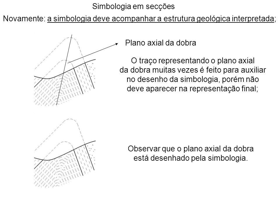 Simbologia em secções Observar que o plano axial da dobra está desenhado pela simbologia. O traço representando o plano axial da dobra muitas vezes é
