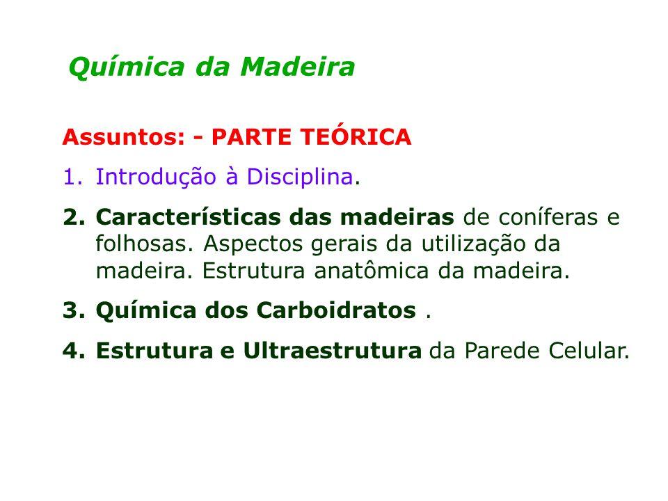 Química da Madeira Assuntos: - PARTE TEÓRICA 1.Introdução à Disciplina.