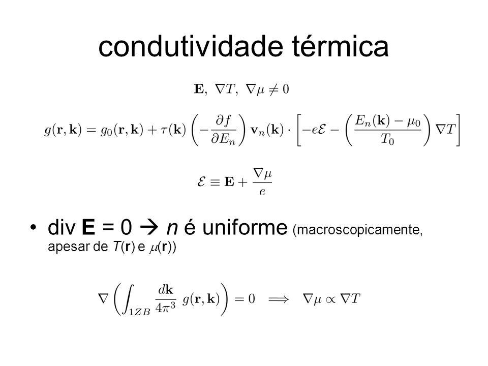 condutividade térmica div E = 0 n é uniforme (macroscopicamente, apesar de T(r) e (r))