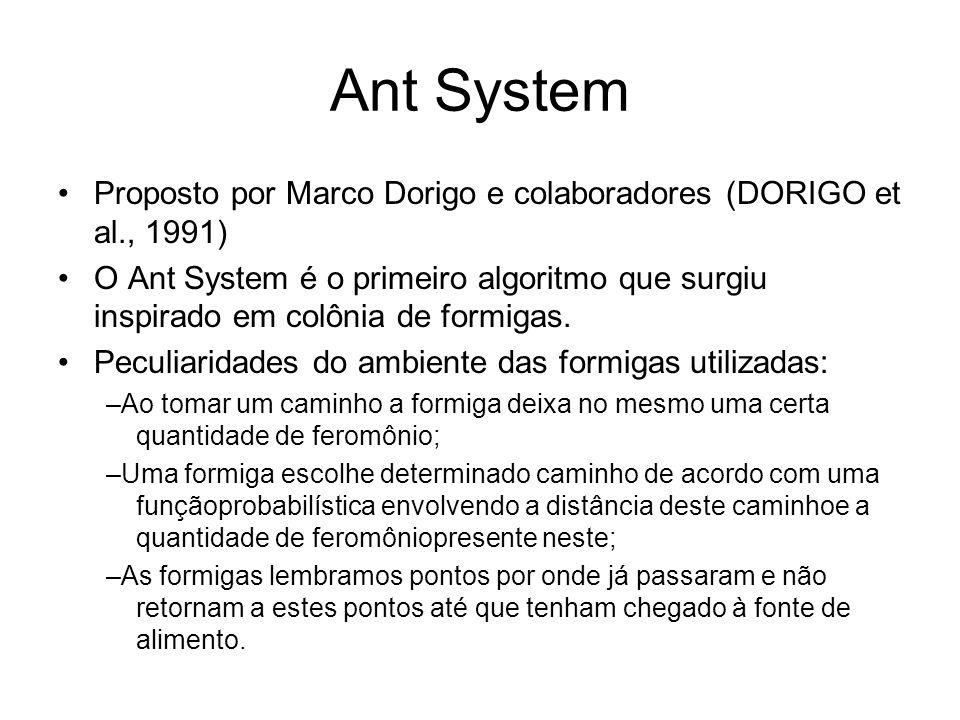 Ant System Proposto por Marco Dorigo e colaboradores (DORIGO et al., 1991) O Ant System é o primeiro algoritmo que surgiu inspirado em colônia de formigas.