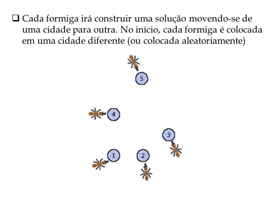 Cada formiga irá construir uma solução movendo-se de uma cidade para outra. No início, cada formiga é colocada em uma cidade diferente (ou colocada al