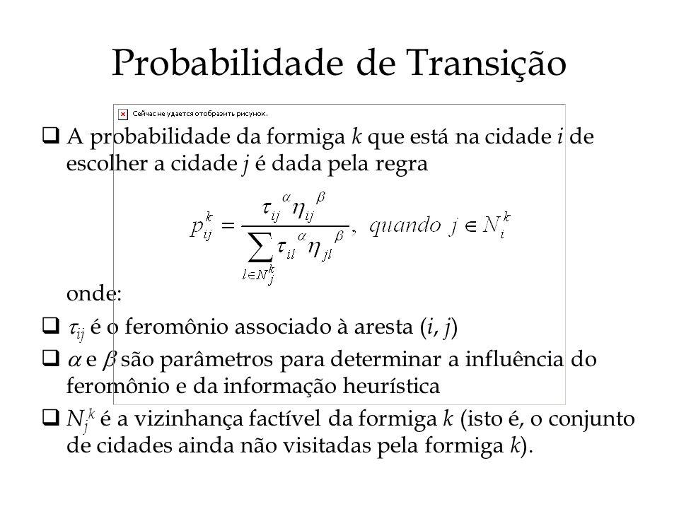 Probabilidade de Transição A probabilidade da formiga k que está na cidade i de escolher a cidade j é dada pela regra onde: ij é o feromônio associado à aresta ( i, j ) e são parâmetros para determinar a influência do feromônio e da informação heurística N j k é a vizinhança factível da formiga k (isto é, o conjunto de cidades ainda não visitadas pela formiga k ).
