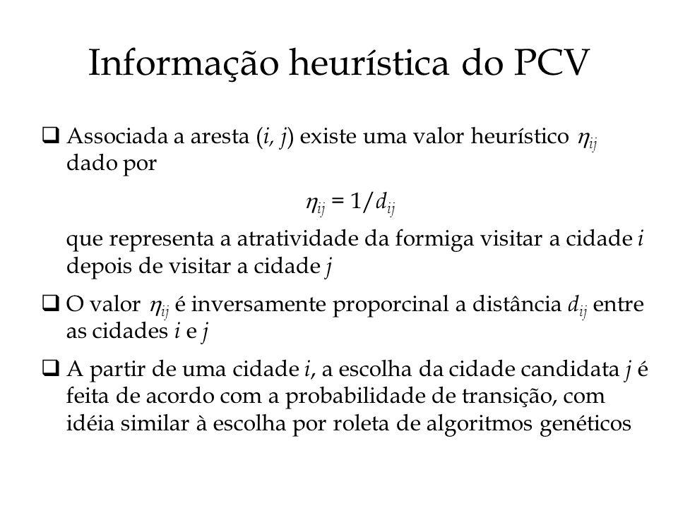 Informação heurística do PCV Associada a aresta ( i, j ) existe uma valor heurístico ij dado por ij = 1/ d ij que representa a atratividade da formiga