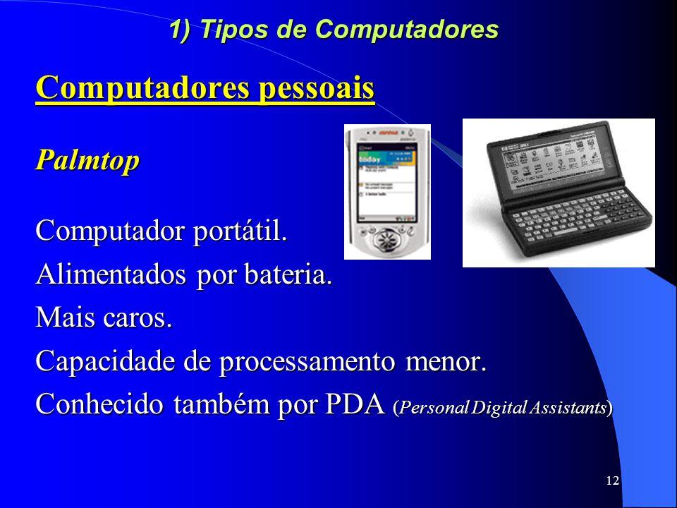 12 1) Tipos de Computadores Computadores pessoais Palmtop Computador portátil.