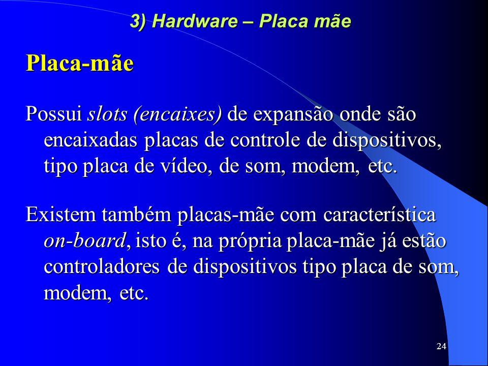 24 3) Hardware – Placa mãe Placa-mãe Possui slots (encaixes) de expansão onde são encaixadas placas de controle de dispositivos, tipo placa de vídeo, de som, modem, etc.