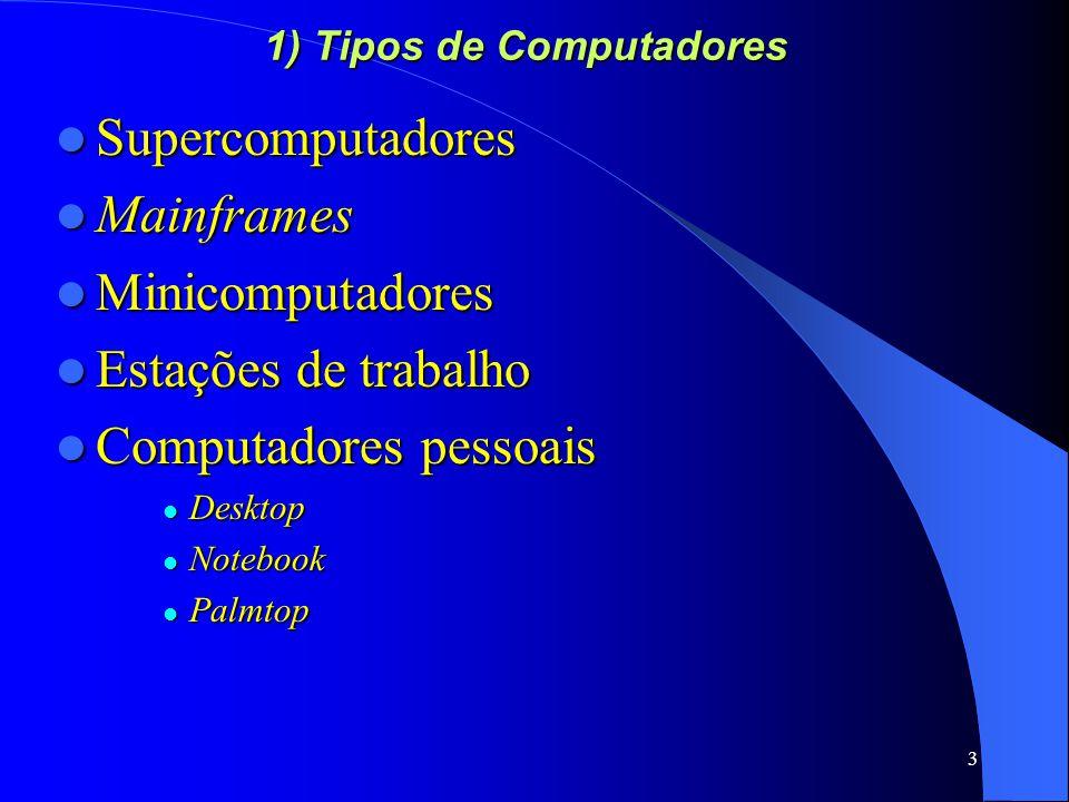 3 1) Tipos de Computadores Supercomputadores Supercomputadores Mainframes Mainframes Minicomputadores Minicomputadores Estações de trabalho Estações de trabalho Computadores pessoais Computadores pessoais Desktop Desktop Notebook Notebook Palmtop Palmtop