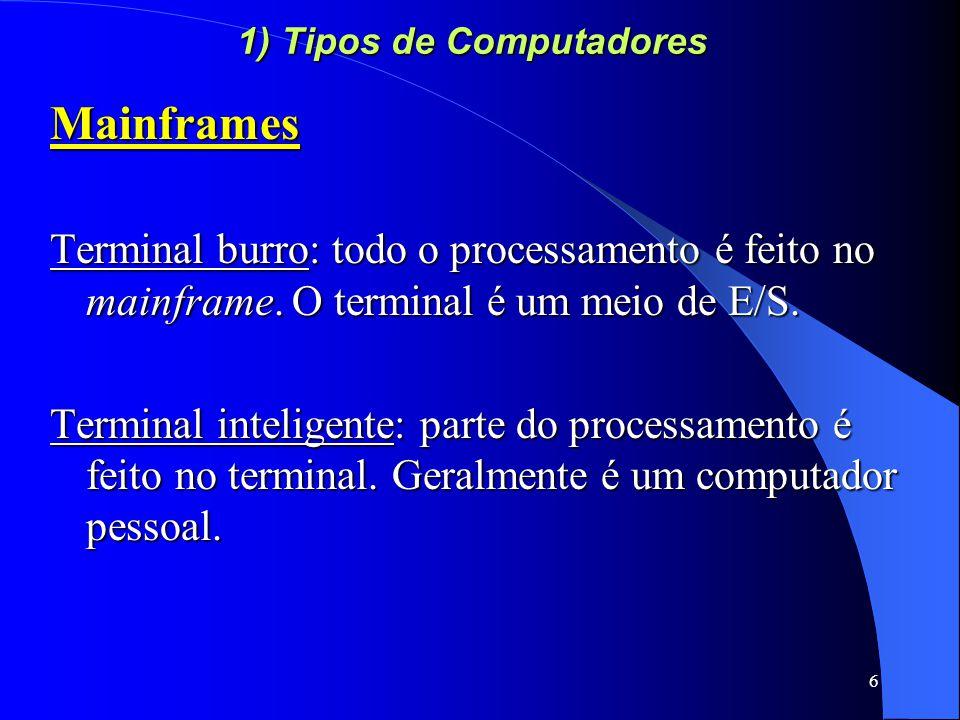7 1) Tipos de Computadores Minicomputadores - Redução no tamanho dos computadores.