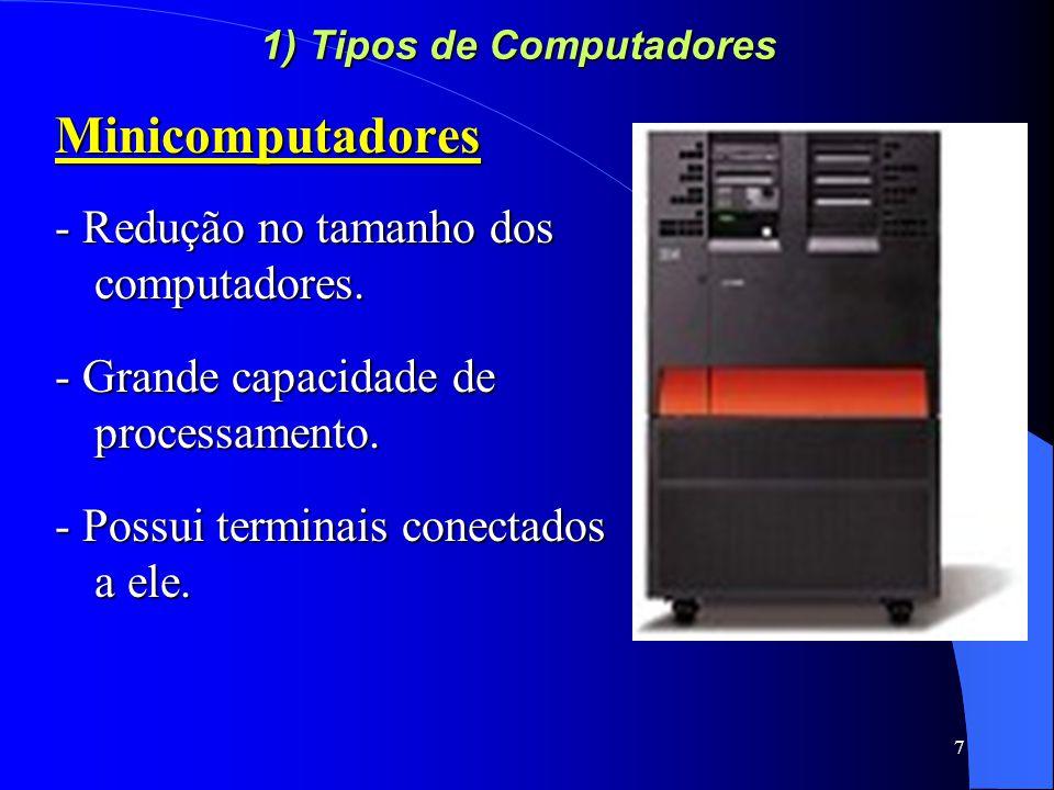 8 1) Tipos de Computadores Estações de trabalho Também conhecidos como workstation Situam-se logo abaixo dos minicomputadores Geralmente possuem arquitetura RISC e sistema operacional UNIX