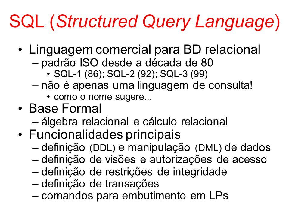 SQL (Structured Query Language) Linguagem comercial para BD relacional –padrão ISO desde a década de 80 SQL-1 (86); SQL-2 (92); SQL-3 (99) –não é apen