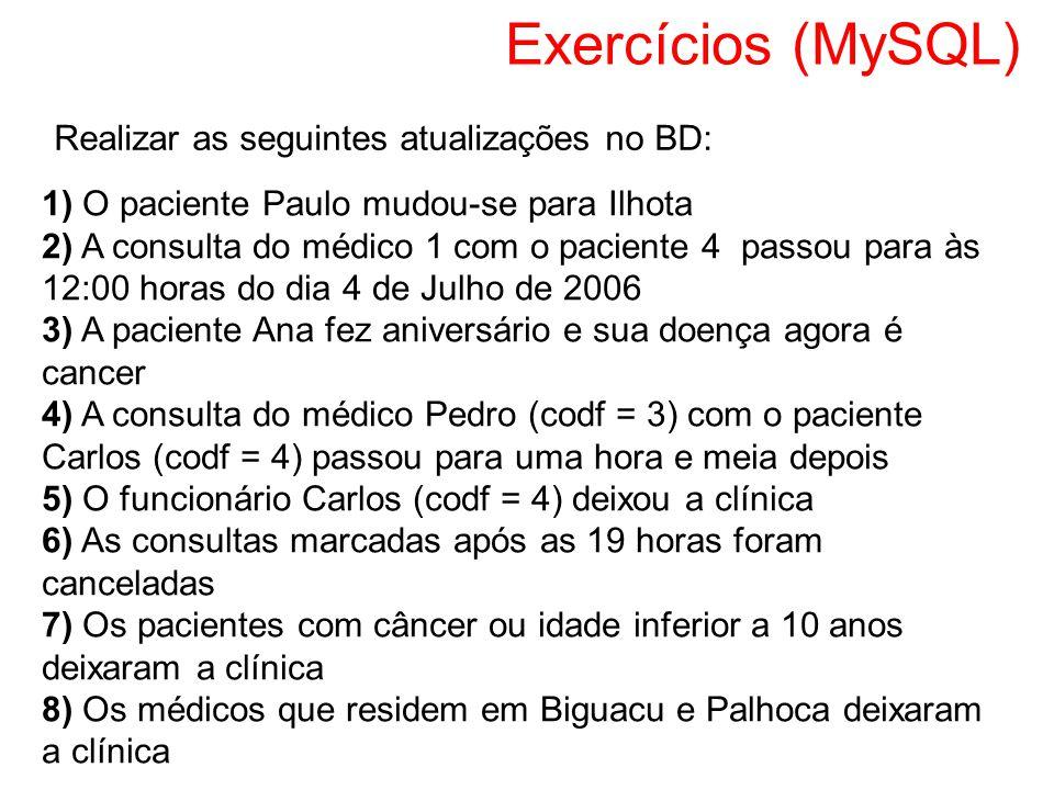 Exercícios (MySQL) 1) O paciente Paulo mudou-se para Ilhota 2) A consulta do médico 1 com o paciente 4 passou para às 12:00 horas do dia 4 de Julho de