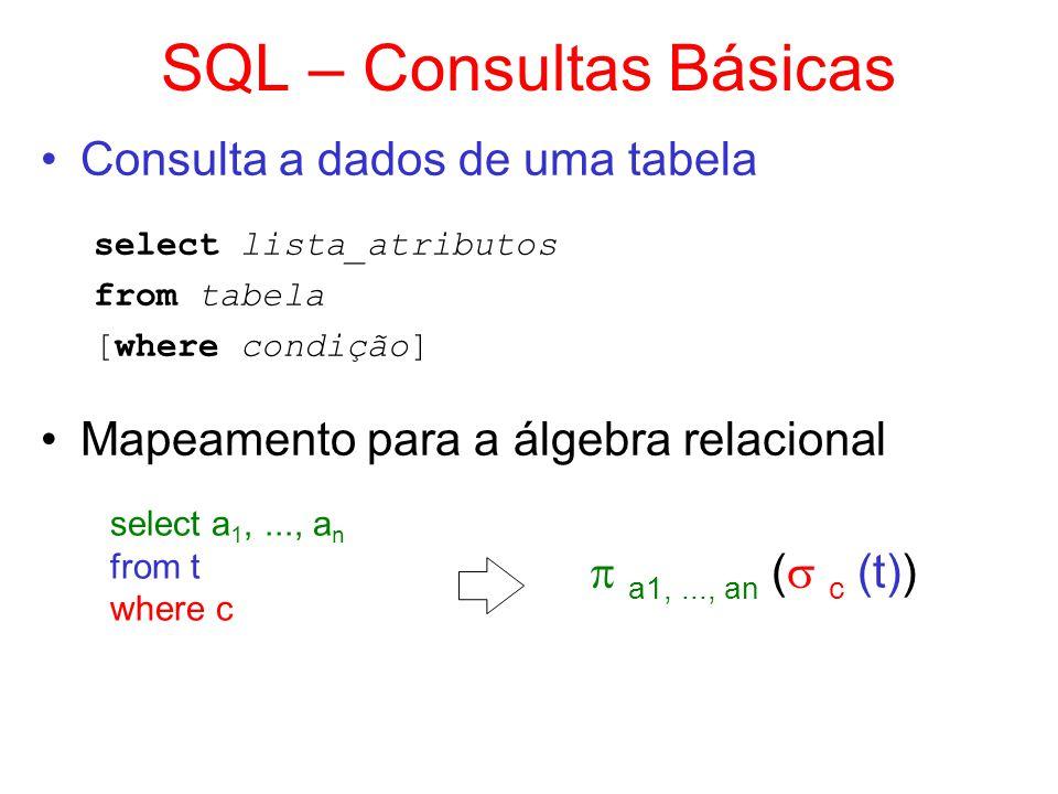 SQL – Consultas Básicas Consulta a dados de uma tabela select lista_atributos from tabela [where condição] Mapeamento para a álgebra relacional select