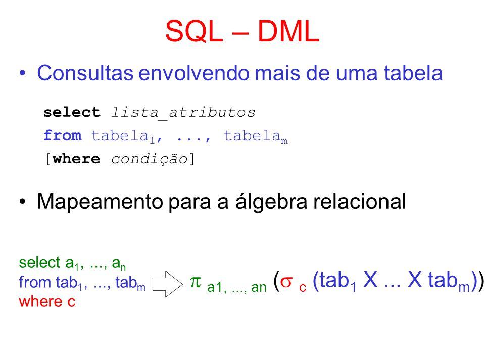 SQL – DML Consultas envolvendo mais de uma tabela select lista_atributos from tabela 1,..., tabela m [where condição] Mapeamento para a álgebra relaci