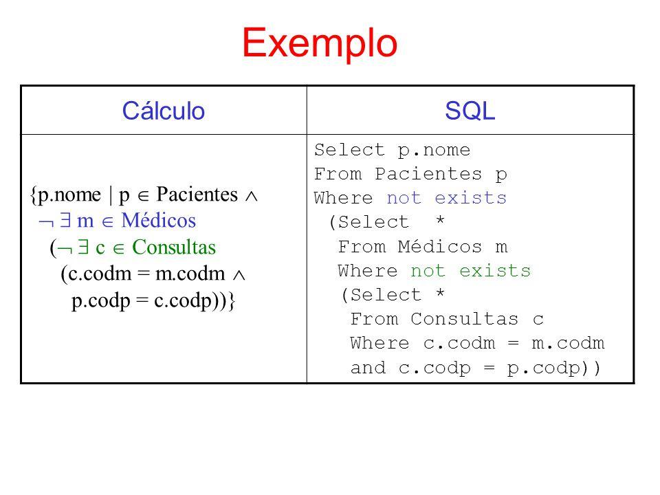 Exemplo CálculoSQL {p.nome | p Pacientes m Médicos ( c Consultas (c.codm = m.codm p.codp = c.codp))} Select p.nome From Pacientes p Where not exists (