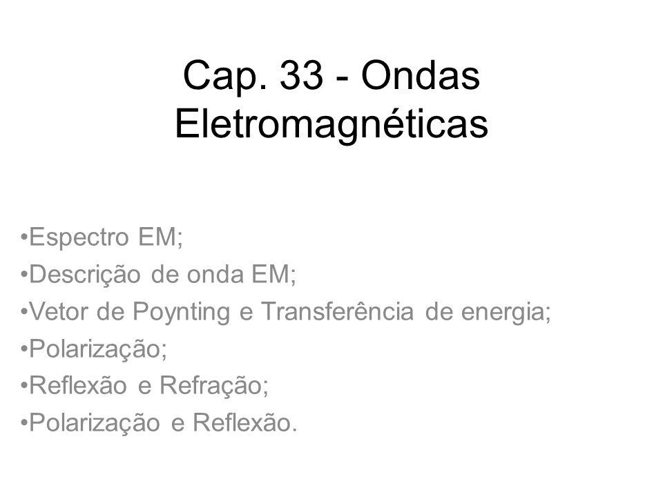 Cap. 33 - Ondas Eletromagnéticas Espectro EM; Descrição de onda EM; Vetor de Poynting e Transferência de energia; Polarização; Reflexão e Refração; Po