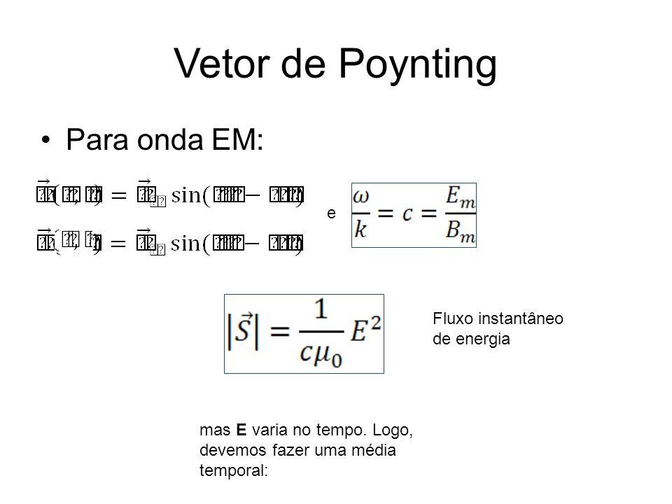 Vetor de Poynting Para onda EM: e mas E varia no tempo.