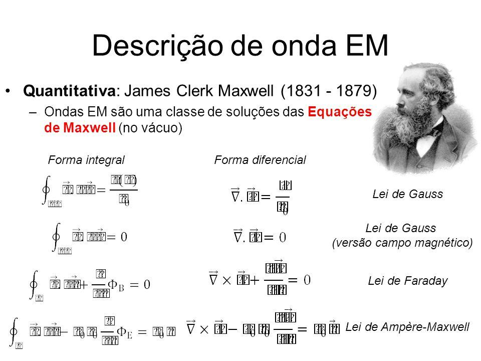 Descrição de onda EM Quantitativa: James Clerk Maxwell (1831 - 1879) –Ondas EM são uma classe de soluções das Equações de Maxwell (no vácuo) Lei de Gauss (versão campo magnético) Lei de Faraday Lei de Ampère-Maxwell Forma integralForma diferencial