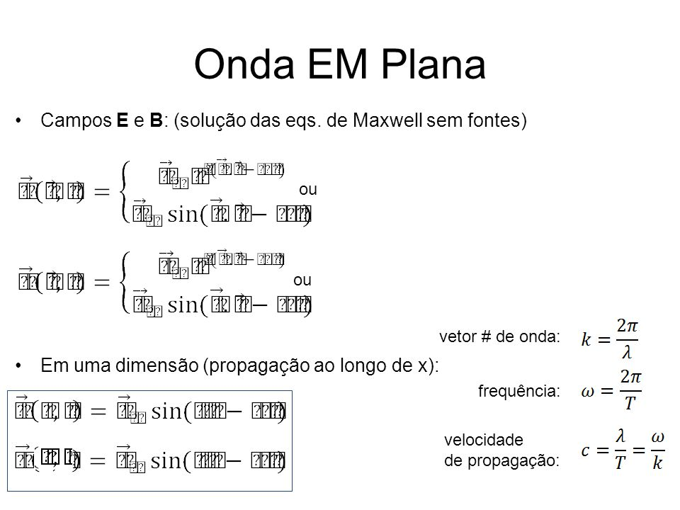 Onda EM Plana Relação entre Em e Bm: Velocidade de propagação: Lei de indução de Faraday: Lei de indução de Ampère-Maxwell: velocidade de propagação da onda EM no vácuo!
