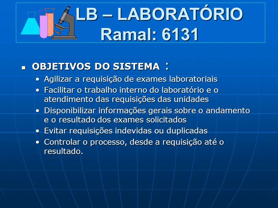 LB – LABORATÓRIO Ramal: 6131 LB – LABORATÓRIO Ramal: 6131 OBJETIVOS DO SISTEMA : OBJETIVOS DO SISTEMA : Agilizar a requisição de exames laboratoriaisA