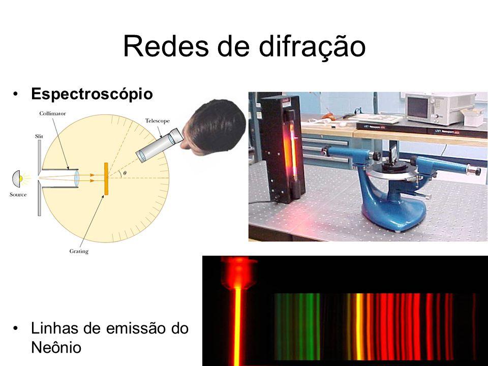 Redes de difração Espectroscópio Linhas de emissão do Neônio