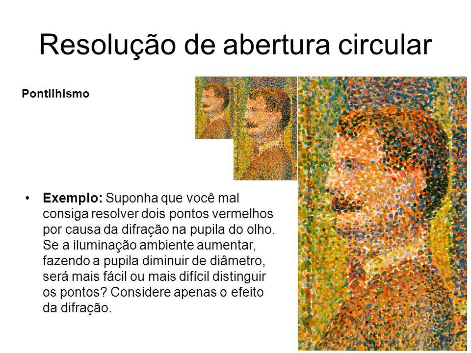 Resolução de abertura circular Pontilhismo Exemplo: Suponha que você mal consiga resolver dois pontos vermelhos por causa da difração na pupila do olh