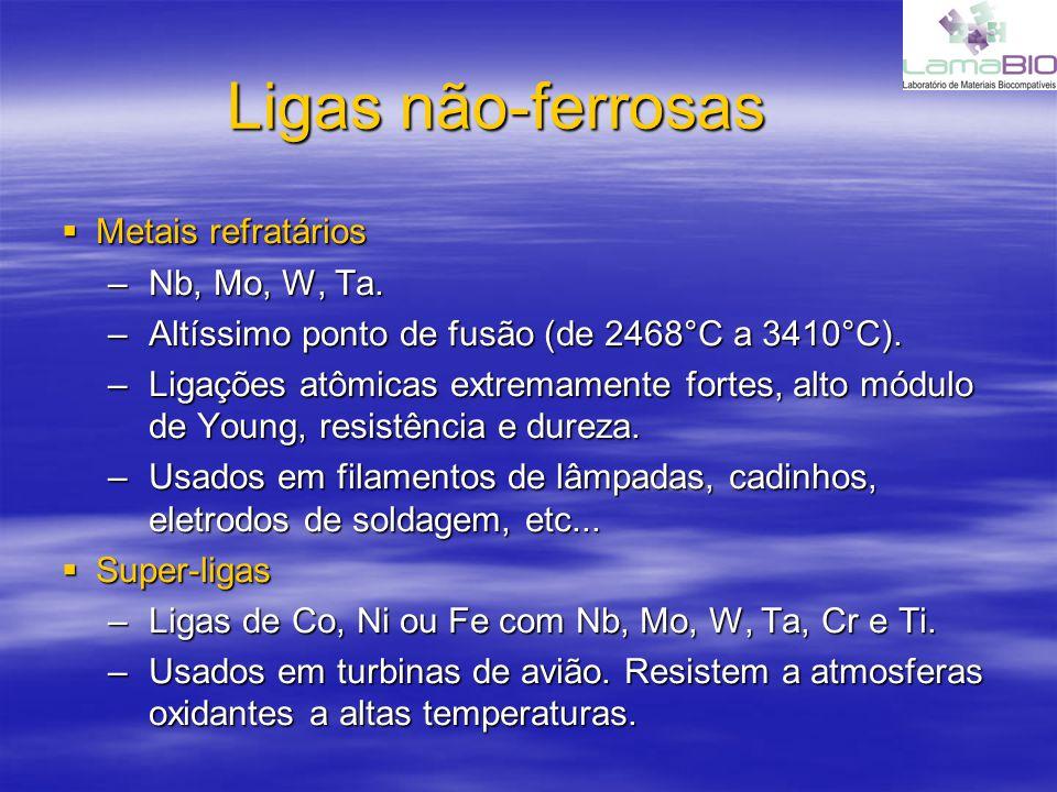 Ligas não-ferrosas Metais refratários Metais refratários –Nb, Mo, W, Ta. –Altíssimo ponto de fusão (de 2468°C a 3410°C). –Ligações atômicas extremamen