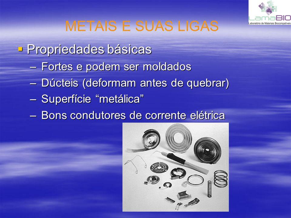 METAIS E SUAS LIGAS Propriedades básicas Propriedades básicas –Fortes e podem ser moldados –Dúcteis (deformam antes de quebrar) –Superfície metálica –