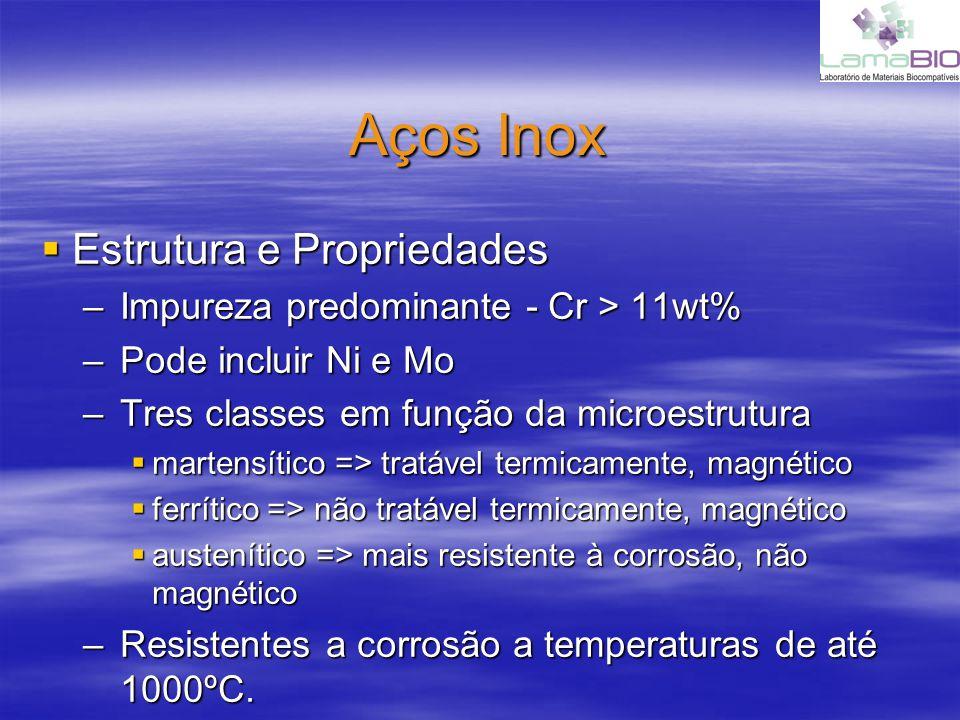 Aços Inox Estrutura e Propriedades Estrutura e Propriedades –Impureza predominante - Cr > 11wt% –Pode incluir Ni e Mo –Tres classes em função da micro