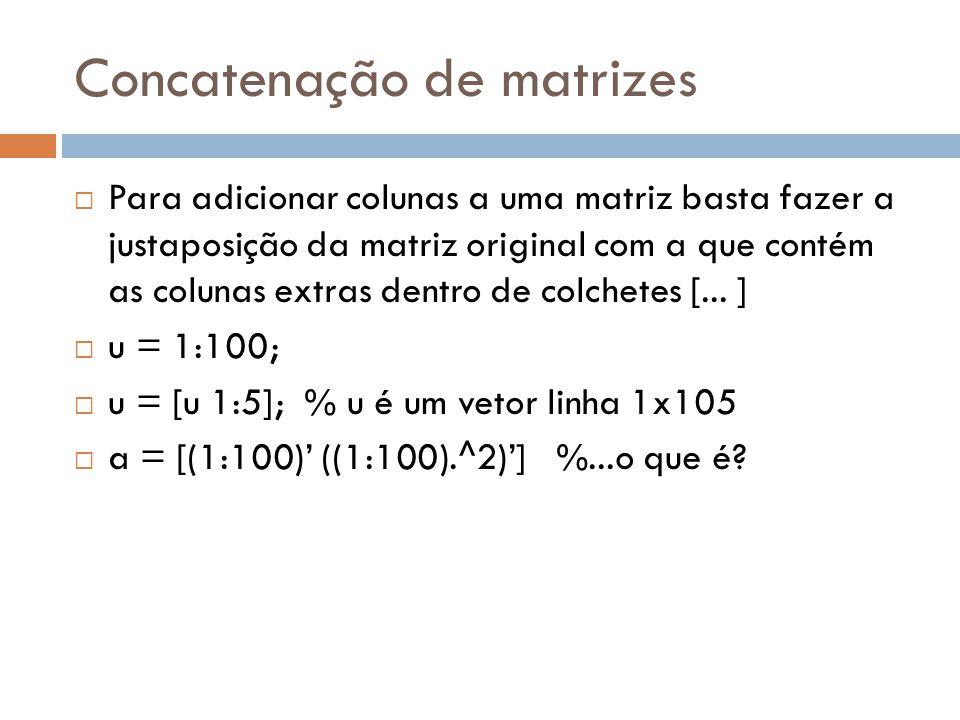 Concatenação de matrizes Para adicionar colunas a uma matriz basta fazer a justaposição da matriz original com a que contém as colunas extras dentro d