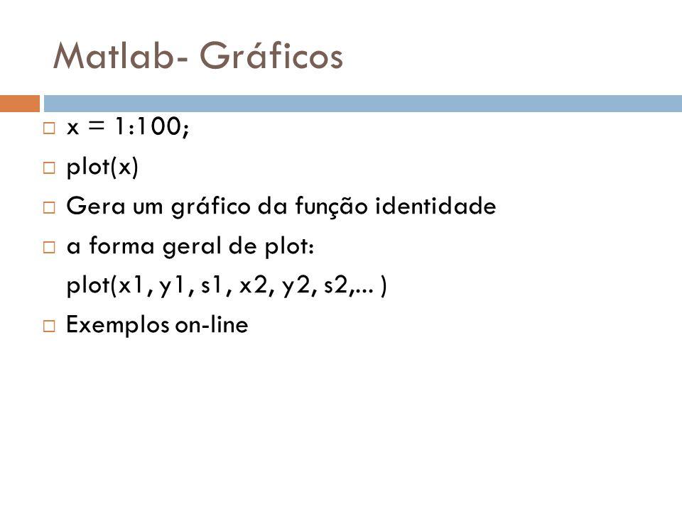 Matlab- Gráficos x = 1:100; plot(x) Gera um gráfico da função identidade a forma geral de plot: plot(x1, y1, s1, x2, y2, s2,... ) Exemplos on-line