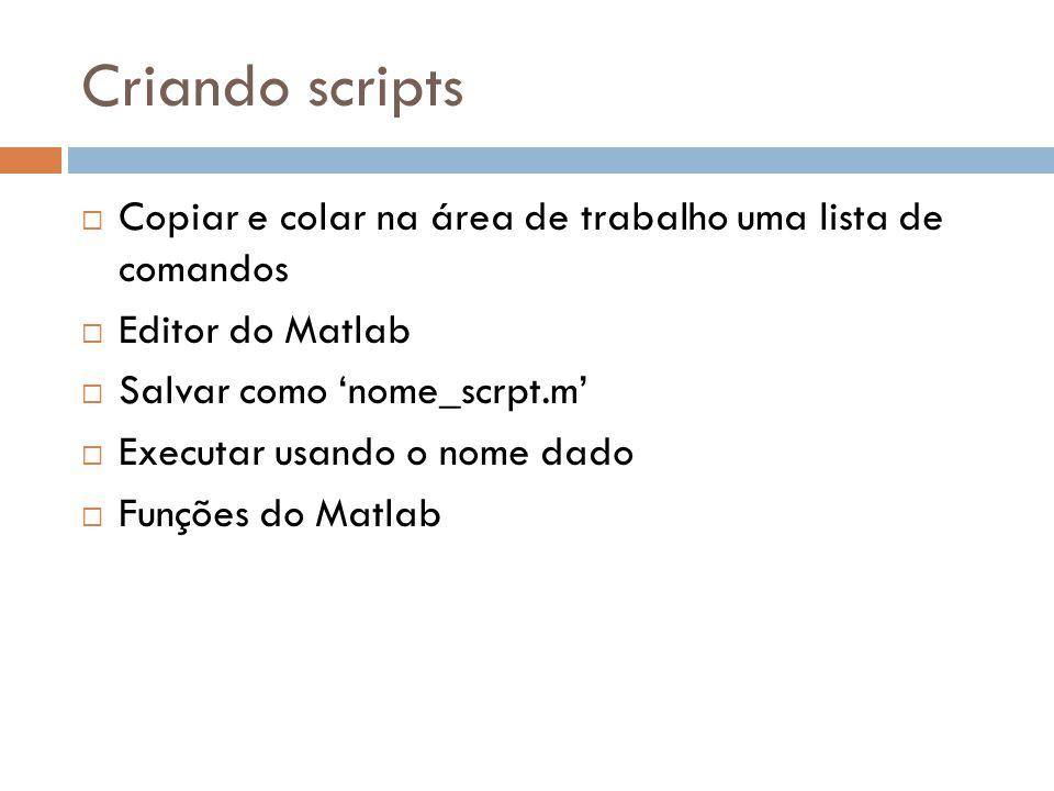 Criando scripts Copiar e colar na área de trabalho uma lista de comandos Editor do Matlab Salvar como nome_scrpt.m Executar usando o nome dado Funções